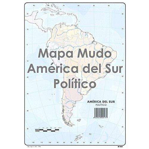 Mapa Mudo SELVI Color Din-A4 América Del Sur Político, Caja x50
