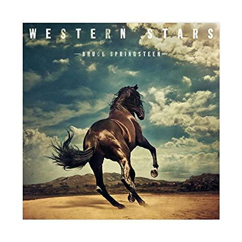 Couverture d'album Bruce Springsteen Western Stars - Affiche sur toile pour chambre à coucher, décoration sportive, paysage, bureau, décoration sans cadre : 70 x 70 cm