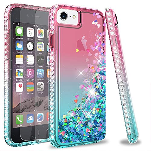iPhone SE 2020 Case, iPhone 8 Case, iPhone 7 Case, iPhone 6s / 6 Case with Tempered Glass Screen Protector [2Pack] for Girls Women, LeYi Glitter Phone Case for Apple iPhone 6/ 6s/ 7/8 Pink/Teal