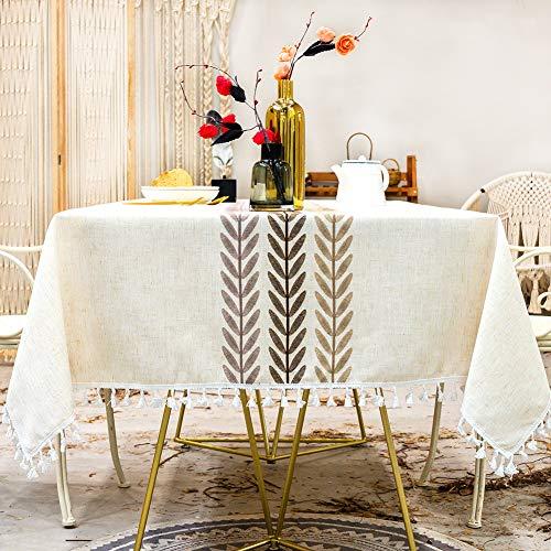 Sunbeauty Mantel Mesa Rectangular Tela Impermeable Algodon Lino con Borlas Empalmado Table Cloth Rectangle para Mesa de Comedor Cocido - 140x200cm