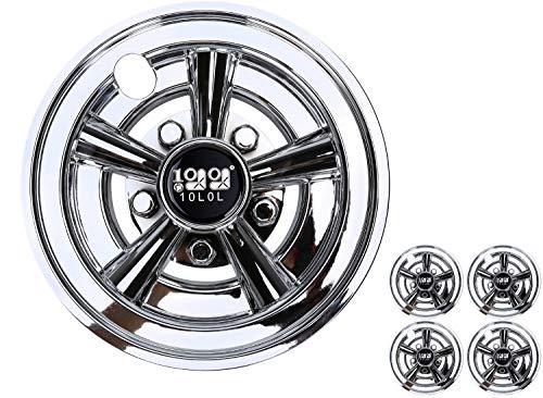 10L0L Golf Cart Wheel Covers Hub Caps for EZGO, Club Car, Yamaha - 8 Inch Snap-on Installation, Chrome, Set of 4