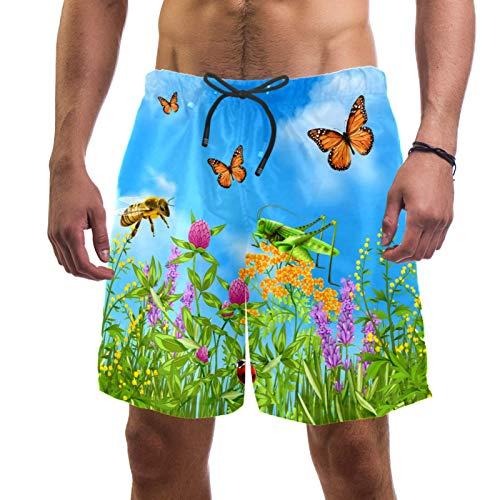 LORVIES Summer Insects Butterfly - Bañador para hombre, secado rápido, talla L multicolor M