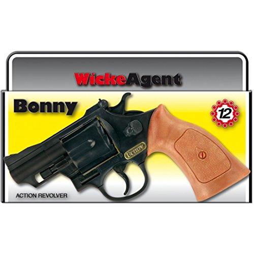 NET TOYS Revolver Bonny 12 Coups 238 mm Noir-Marron Pistolet Agent Arme Task Force flingue Pistolet Jouet