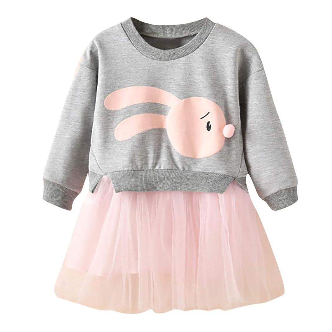 モードリンチーター曲線Onderroa - 冬の子供服の女の赤ちゃんの漫画のバニープリンセスパッチワークトレーナーチュールドレス服roupaのinfantil
