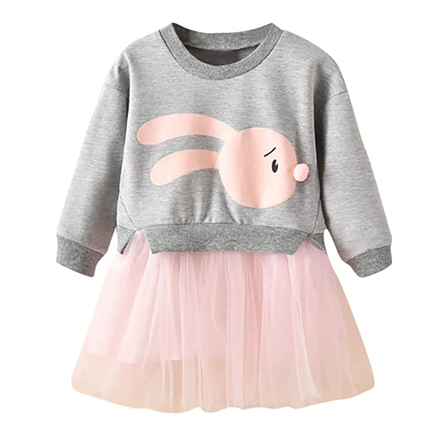 最も早いネスト定期的Maxcrestas - 冬の子供服の女の赤ちゃんの漫画のバニープリンセスパッチワークトレーナーチュールドレス服roupaのinfantil