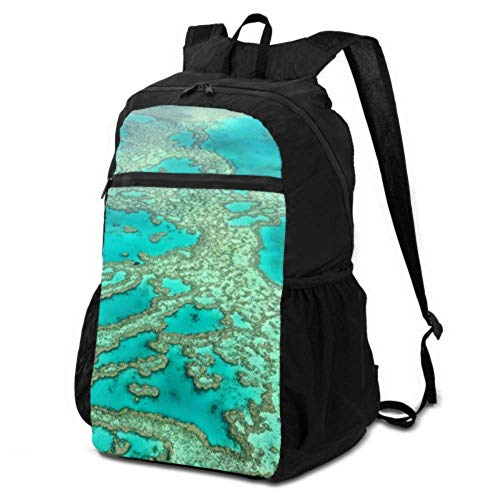JOCHUAN Foldable Backpack for Women Australia Great Barrier Reef Coral Hiking Waterproof Bags Daypack Men Hiking Lightweight Waterproof for Men & Womentravel Camping Outdoor
