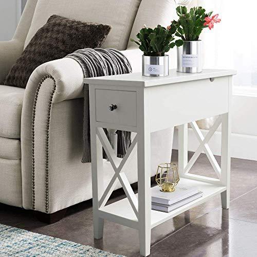 ChooChoo Flip Top Open End Table, Narrow Side Table Slim End Table for Living Room Bedroom White