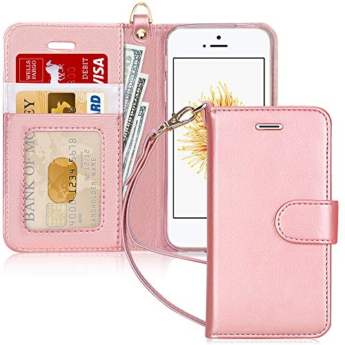 FYY Coque iPhone Se, Coque iPhone 5S, Coque iPhone 5, [Rose Or] Étui en Cuir PU de première qualité avec Coverture Toute-Puissante pour Apple iPhone SE/5S/5 Rose Or