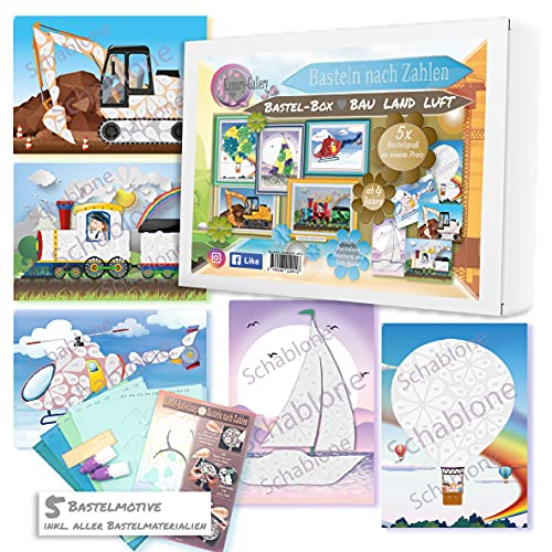 5 x Papierbastelset Bastelbox BAU Land Luft für Kinder ab 4 Jahre, Bastelsets Lokomotive Basteln nach Zahlen 3D-Bilder basteln aus Papier, Kindergeburtstag oder für als Mitbringsel