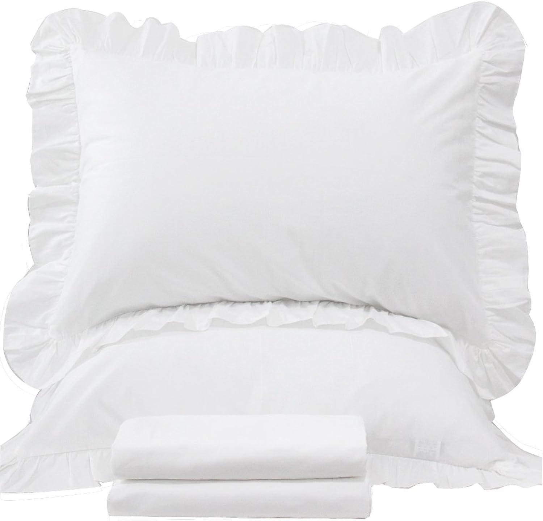 Queen's House 3-Piece White Duvet Cover Full Set-Shabby Ruffles