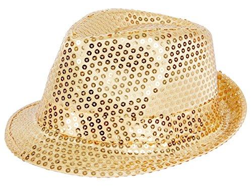 Alsino Paillettenhut Partyhut Trilby Hut mit Pailletten in Einheitsgröße Fedora für Damen Herren (Gold)