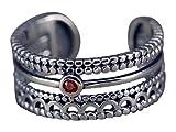 NicoWerk Silberring Bohemian Breit Mehrreihig Vintage Mit stein Bandring Rot Kristall Ring Silber 925 Verstellbar Damenringe Damen Schmuck SRI254
