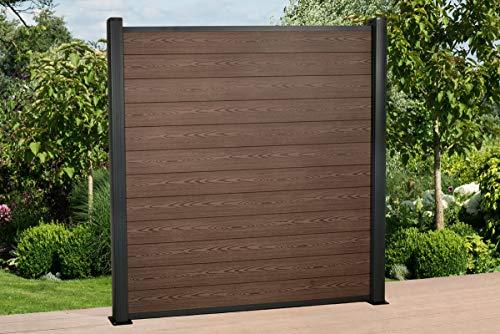 DeToWood Hochwertiger WPC Zaun mit Alu- Pfosten (190x9x9 cm zur Bodenmontage) Maße: 1,8 bis 21,6 Lfm, Modell: Premium, Farbe: Braun/Grau (14.4)