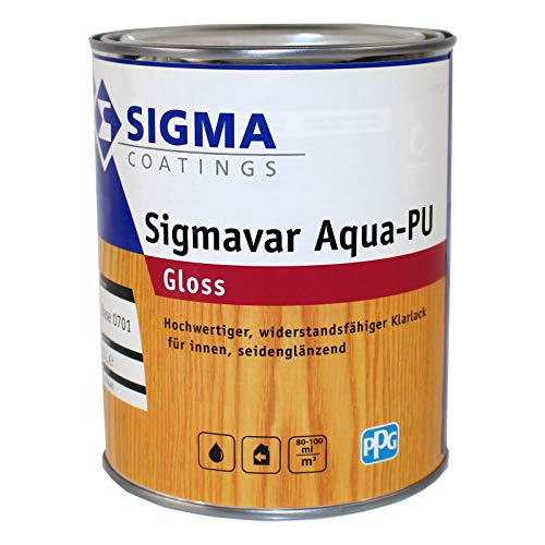 Sigma Sigmavar Aqua PU Gloss, 2,5 Liter Klarlack Hochglänzend farblos für innen Holzlack Möbellack Holzversiegelung