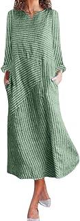 Sceoyche Women Casual Striped Print Long Sleeve Dress V-Neck Linen Pocket Long Dress