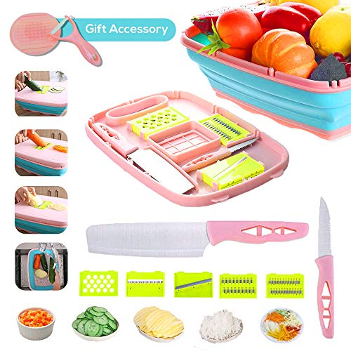 NERIAHKITCHEN Collapsible Cutting Board 9-In-1 Multifunctional Camping Cutting Board Foldable Colander Cutting Board Accessories-Space Saver Fruit & Vegetable Slicer Kit, Strainer-Knives Set- (PINK)