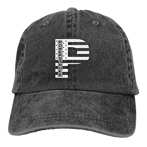 IIFENGLE Gorra de béisbol Retro para Adultos Sombrero de Vaquero Deportivo Sombrero Unisex para Exteriores Sombrero de Camionero Negro American Flag Powerstroke P