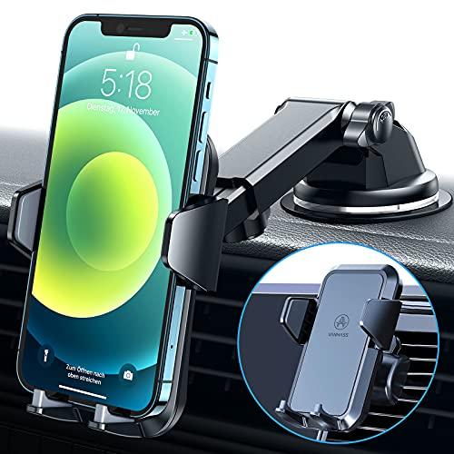 VANMASS Handyhalterung Auto 3 in 1 Lüftung und Saugnapf Stabil 100prozent Silikonschutz Handyhalter Fürs Auto Universale Kfz Handyhalterung 360° Drehbar Autohalterung Für Alle Handy iPhone Samsung Huawei LG