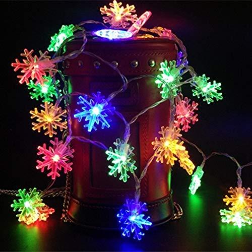 Decoración de copo de nieve LED árbol de Navidad decoración de boda al aire libre cadena de iluminación de jardín Batería Multicolor 3m30 leds