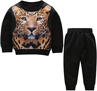 Toddler Baby Kids Sweatshirt Set 2-Piece Clothes Warm Long Sleeve Pullover 3D Tiger Print Tracksuit +Pants Outfit