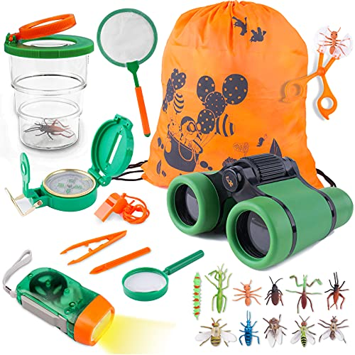 Tintec Kit de Juguetes de Exploración, Juguetes Al Aire con 24 Piezas, Niños de 3-10 Años de Aventura al Aire Libre Juguetes Educativos Regalo de Cumpleaños para Niños con Mochila Brújula Binocular