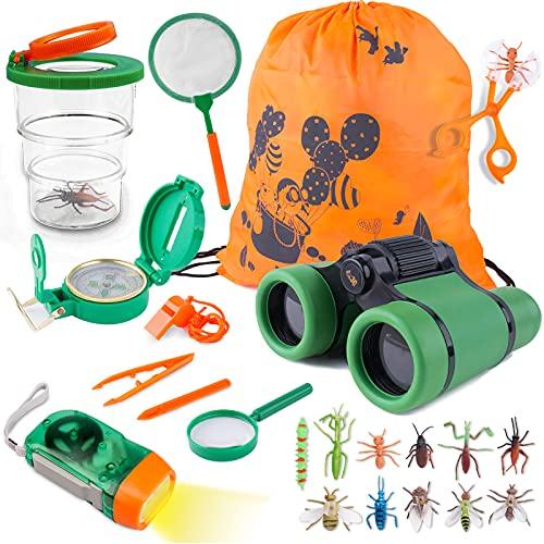 Tintec Kit Explorador Niños, Juguetes de Exploración 33 Piezas Al Aire Libre para Niños de 3-10 Años, Juguetes Niños Educativos Regalo de Cumpleaños con Mochila Brújula Binocular Insectos Linterna