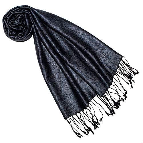 Lorenzo Cana Luxus Seidenschal für Frauen Schal 100% Seide gewebt Damenschal elegant Paisley Muster Ton in Ton, Schwarz-blau, 35 x 160 cm