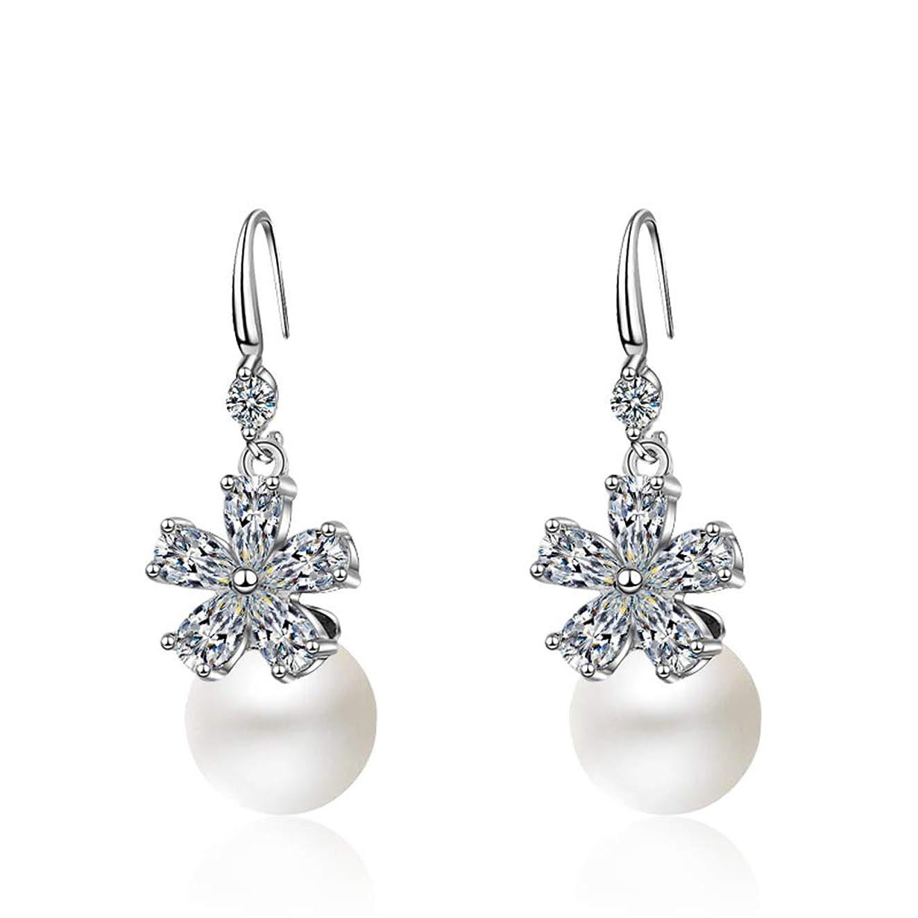 歴史的酸っぱい悪党Ai.Moichien フックダングル淡水真珠のイヤリングシルバーメッキラインストーンエレガントな女性の女の子のイヤリングジュエリー