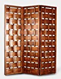 UNIVOCEAN (OH) Handicraft 3 Panel Handcrafted (WALLNET RED Colour) Wooden Partition/Wooden Room Divider/Wooden Room Seperator/Separator for Living Room/Office/Wooden Antique