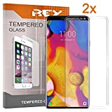 REY Pack 2X Panzerglas Schutzfolie für LG V40 THINQ, durchsichtig, Bildschirmschutzfolie 9H+, Polycarbonat, Festigkeit, Anti-Kratzen, Anti-Öl, Anti-Bläschen, 3D / 4D / 5D