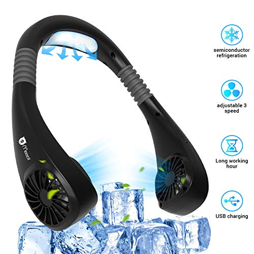 Moocii Neck Fan Personal Air Conditioner Portable Necklace Fans Hands Free USB Rechargeable 180° Rotation 3 Speeds 6 Mode 2 in 1 Neckband Cooling Fan for Outdoor Sports Travel Office Home