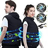 Cooling Vest Air Conditioned Cooling Fan Vest Sun Protection Vest for Constrution,Fishing,Sport that Manages Heat Stress(Black-V, 3x_l)