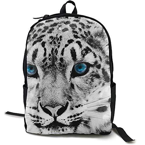 Boekentas, Reizen Rugzak Grote Luiertas - Zwart en Wit Sneeuw Luipaard Cheetah Gedessineerde Rugzak School Rugzak voor Vrouwen & Mannen