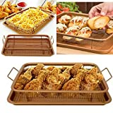 ADEPTNA 2PCS Copper Infused Multi-Purpose Crisper Tray Set Non Stick Mesh Pan Air Fryer Oven Grill Tray Basket (Rectangle Crisper Tray Set)