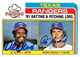 Al Oliver & George Medich'Doc' autographed Baseball Card (Texas Rangers) 1982 Topps Leaders #36