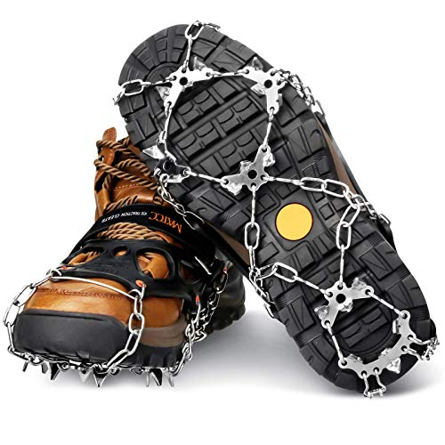 MATCC Snow Ice Cleats Traction Cleats Spikes Crampons with 19 Anti-Slip Stainless Steel Spikes for Men Women Shoes Boots Ice Grippers for Walking Hiking Mountaineering Ice Climbing Outdoor Sports