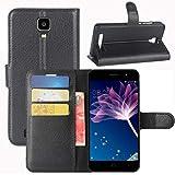 HualuBro Doogee X10 Hülle, [All Aro& Schutz] Premium PU Leder Leather Wallet HandyHülle Tasche Schutzhülle Flip Hülle Cover für Doogee X10 Smartphone (Schwarz)
