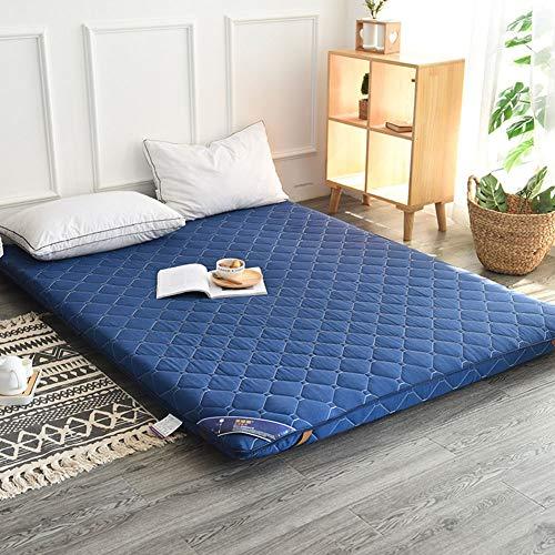 TENCMG Traditional Japanese Floor Futon Mattresses Sleeping Pad, Tatami Mat Foldable Roll Up Mattress - Thickness 4 cm,Blue,150x200cm