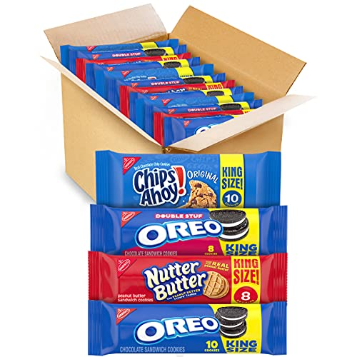 OREO Cookies, CHIPS AHOY! Cookies & Nutter Butter Cookies Variety Pack, School Lunch Box Snacks, 12 King Size Packs