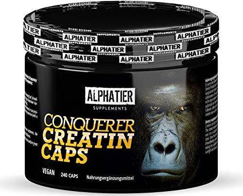 Vegan Creatin Kapseln Creapure - hochdosiert - 240 Caps - reines CREATINE MONOHYDRAT - Alphatier Kreatin von Alzchem aus Deutschland - 750mg Kreatine Monohydrate pro Creatinkapsel