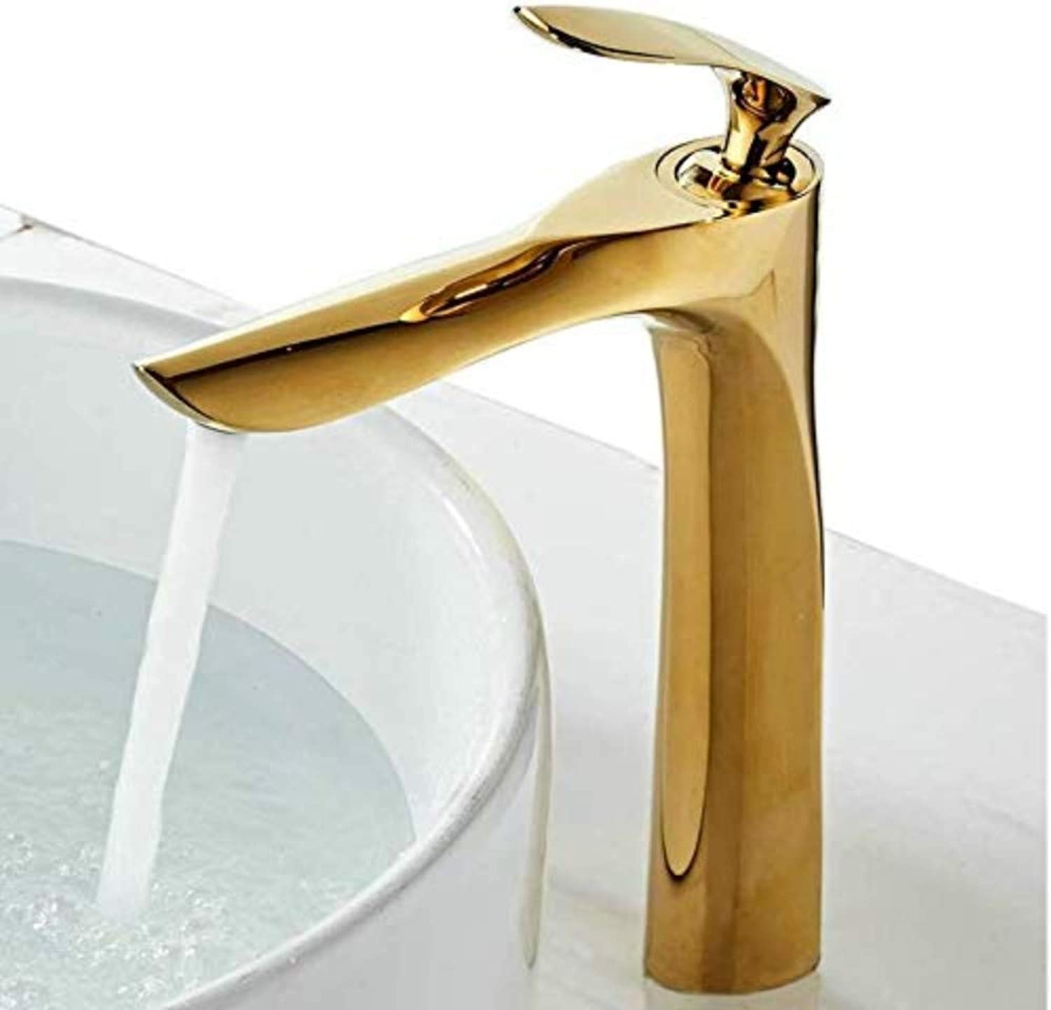 Faucettall Counter Top Basin Mixer Tap Curved Bathroom Sink Tap Designer Style,Polish gold,