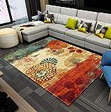 BLZQA Alfombra Moderna de Pelo Corto Estampado Naranja Alfombra De Salón Antideslizante Salón Dormitorio Fácil de cuidar, al Aire Libre Cámping Viaje 160 x230 cm