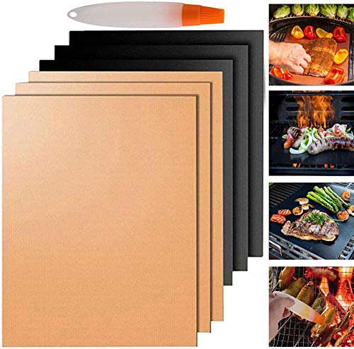Nifogo 6 Piezas Estera de Barbacoa Alfombrilla de Barbacoa BBQ Grill Mat Antiadherente Reutilizable para Asar Carne, Pescado y Verduras (A-6pcs)