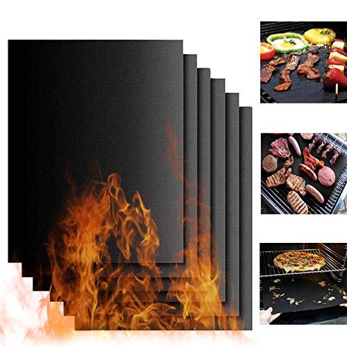 YZNlife Barbecue Matte 6Pcs Grillmatten, Antihaft Grill BBQ Matte, Grillrost Matten Grill Folie für Holzkohle, Gasgrill, Backofen, 40x33cm