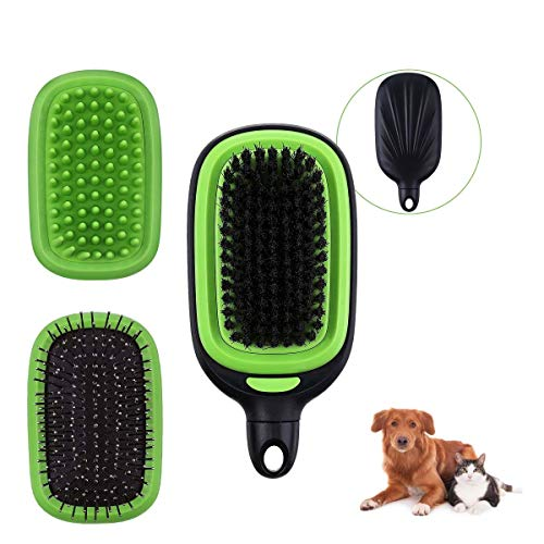 Comfook Bürste für Hunde und Katze, Fellbürste für Haustiere große Kleine, Borsten Silikon Haustier Bürste für Langhaar&kurzhaar Abnehmbar 3 in 1