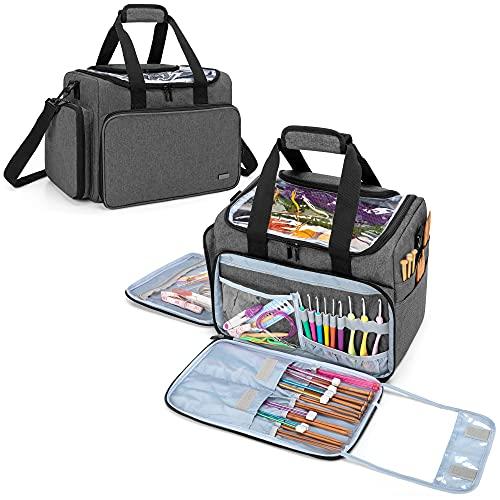 Teamoy Garnaufbewahrung Tasche, Stricken Aufbewahrung mit Taschen für Garnstränge und Strickzubehör, Grau