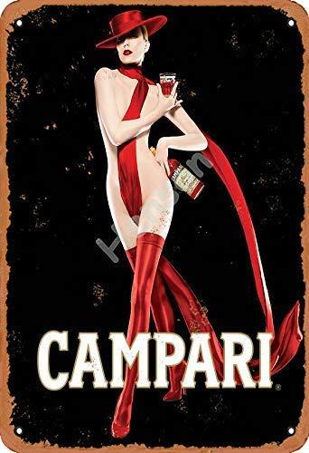 FANGJIA Campari Italy Blechschild aus Aluminium für Bars, Restaurants, Cafés, Pubs, Zuhause, Kaffee, 20,3 x 30,5 cm