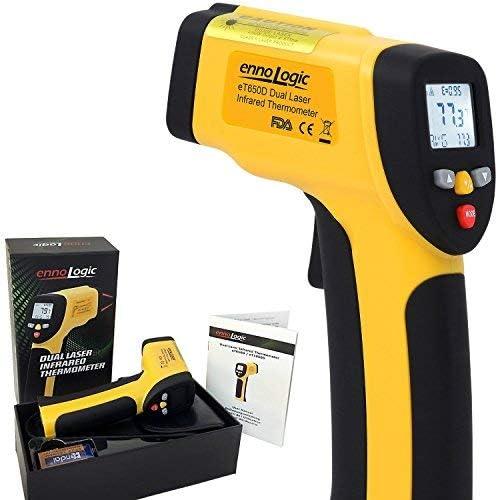 Ennologic Infrarot Thermometer Et650d Mit Doppel Laser Kontaktfreie Infrarot Messpistole Berührungsloses Ir Oberflächenthermometer Messbereich 50 C Bis 650 C Küche Haushalt