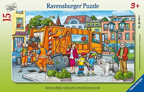Ravensburger Kinderpuzzle 06162 - Unterwegs mit der Müllabfuhr - Rahmenpuzzle