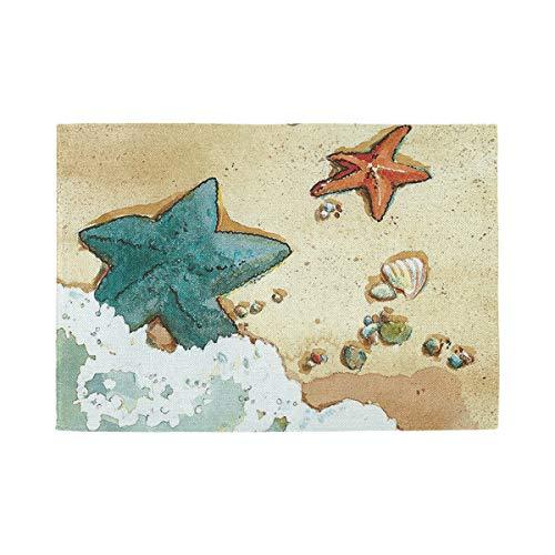 XiangHeFu Niet Slip Hittebestendig 12x18inx1 Thuis Keuken Zee Strand Zeester Schilderij Placemat Tafelmat Makkelijk schoon te maken